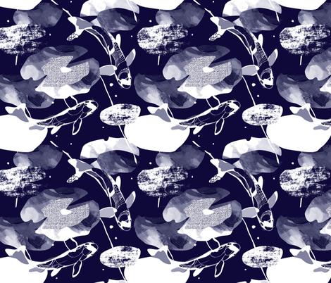 Koi Carp fabric block print fabric by mountvicandme on Spoonflower - custom fabric