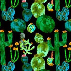 Desert Cacti + Succulents in Vivid Green Multi
