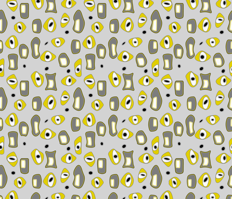 Mid Century Modern 2 in Gray and Mustard Yellow fabric by mel_fischer on Spoonflower - custom fabric