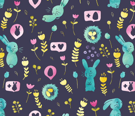 Easter bunnies fabric by lapinecurieuse on Spoonflower - custom fabric