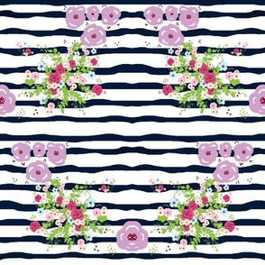 Purple passion Spring bouquet navy ribbon stripes - SMALL