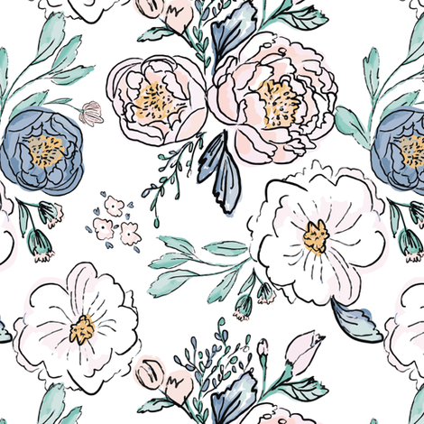 Indy-Bloom-Design-Periwinkle-Rose C fabric by indybloomdesign on Spoonflower - custom fabric