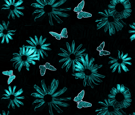 blue daisies ink fabric by zwolf73 on Spoonflower - custom fabric