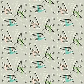 Atomic Boomerangs on Pale Gray  - Small