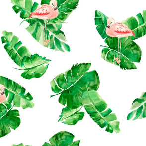 Banana leaves and flamingos on white