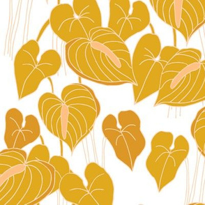 mustard sketchy anthuriums