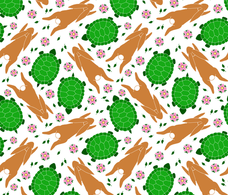 Tortoise and the Hare fabric by emily_laughlin on Spoonflower - custom fabric