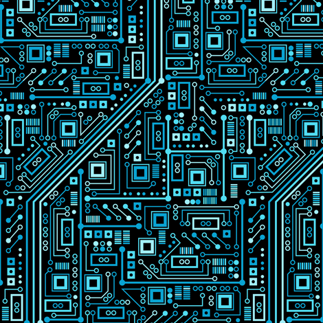 Short Circuits (blue small)  fabric by robyriker on Spoonflower - custom fabric