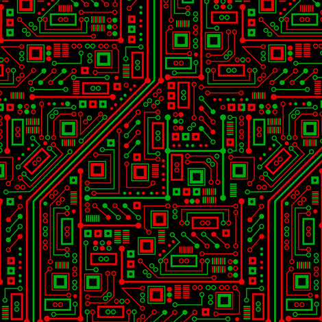 Merry Robot Circuits (Dark Small) fabric by robyriker on Spoonflower - custom fabric