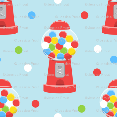 gumball machine - red on blue