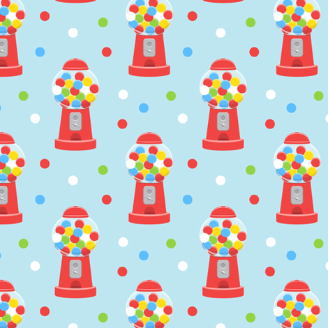 gumball machine - red on blue fabric by littlearrowdesign on Spoonflower - custom fabric