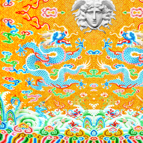 blue dragons medusa baroque rococo clouds flowers floral leaves fish versace inspired asian japanese china chinese oriental medusa colorful rainbow flames fire ocean sea waves gorgons Greek Greece mythology far east meets west fusion chinoiserie  fabric by raveneve on Spoonflower - custom fabric