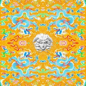 blue dragons medusa baroque rococo clouds flowers floral leaves fish versace inspired asian japanese china chinese oriental medusa colorful rainbow flames fire ocean sea waves gorgons Greek Greece mythology far east meets west fusion chinoiserie