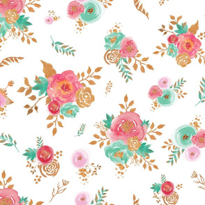 Watercolor Floral Pink Coral Mint Gold