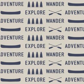 explore wander adventure || superior blue on beige - adventure camp - Large Scale