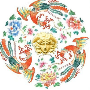Phoenix birds floral flowers leaves leaf peony peonies versace inspired  baroque rococo asian japanese china chinese oriental medusa gorgons Greek Greece mythology far east meets west fusion chinoiserie