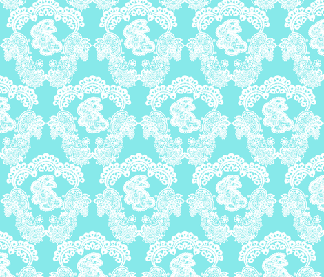 Blue Bunny Lace fabric by geekygamergirl on Spoonflower - custom fabric