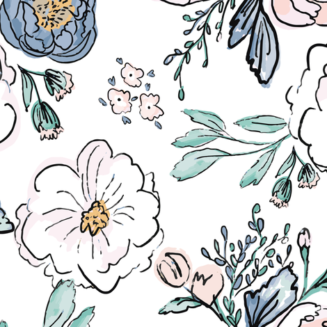 Indy-Bloom-Design-Periwinkle-Rose D fabric by indybloomdesign on Spoonflower - custom fabric