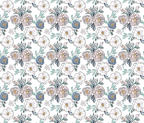 Indy-Bloom-Design-Periwinkle-Rose B fabric by indybloomdesign on Spoonflower - custom fabric