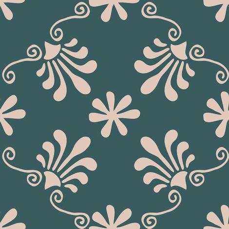 Greek Mermaid - Pink, Teal fabric by fernlesliestudio on Spoonflower - custom fabric
