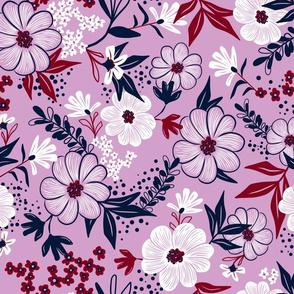 Harper Floral - Orchid Spoonflower Limited Color Palette Challenge