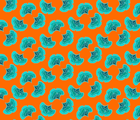 gingko bleu fd orange vif-01 fabric by sissi-tagg on Spoonflower - custom fabric