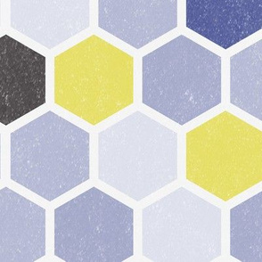 Large Hexie Hexagon || Purple Lilac grunge Chartreuse Green Yellow _ Miss Chiff Designs
