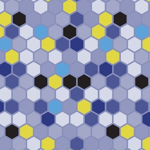 Hexie Hexagon Plum Blue Purple || Dots Spots Lilac Chartreuse Green Yellow _  Miss Chiff Designs
