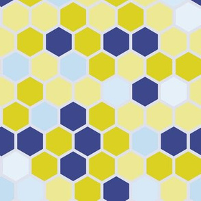 Hexie Hexagon Periwinkle Blue Purple Lilac Chartreuse Green Yellow Dots Spots _ Miss Chiff Designs