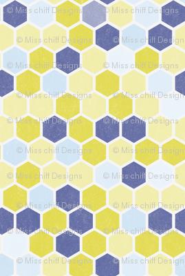 Grunge Hexie Hexagon Plum Blue Purple Lilac Chartreuse Green Yellow Dots Spots _ Miss Chiff Designs
