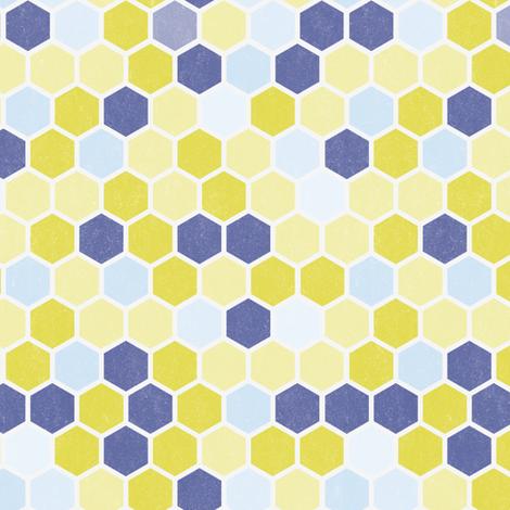 Grunge Hexie Hexagon Plum Blue Purple Lilac Chartreuse Green Yellow Dots Spots _ Miss Chiff Designs fabric by misschiffdesigns on Spoonflower - custom fabric