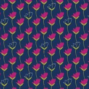 Navy sketched tulip floral pattern