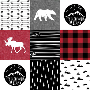 Happy Camper Patchwork with Buck - buffalo plaid red