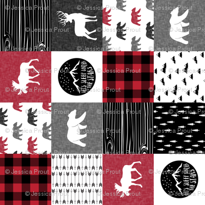 Happy Camper Patchwork with Buck - buffalo plaid red  (90)
