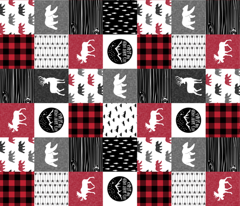Happy Camper Patchwork with Buck - buffalo plaid red  (90) fabric by littlearrowdesign on Spoonflower - custom fabric