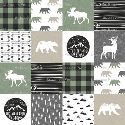 Happy Camper - Sage, Grey, Tan woodland patchwork