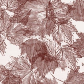 Fall leaves - burgundy white