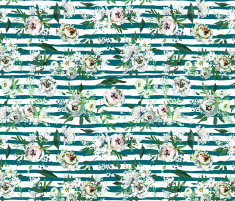 """White Hand Painted on Teal Stripes 12"""" fabric by greenmountainfabric on Spoonflower - custom fabric"""