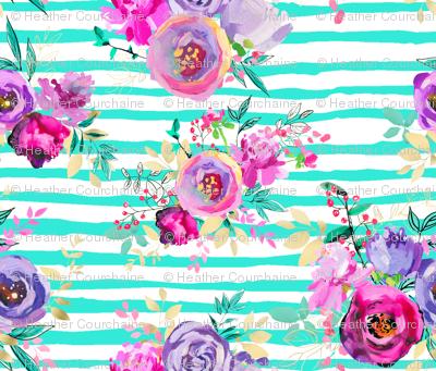 Bouquets Pattern on MINT Stripes