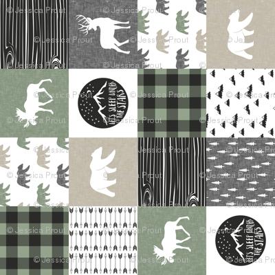 Happy Camper - Sage, Grey, Tan woodland patchwork (90)