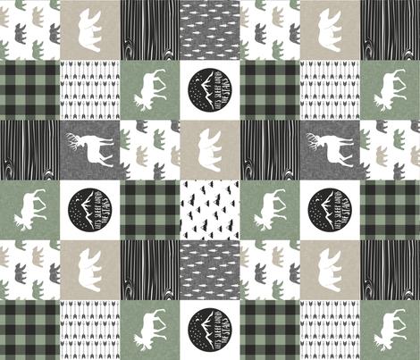 Happy Camper - Sage, Grey, Tan woodland patchwork (90) fabric by littlearrowdesign on Spoonflower - custom fabric