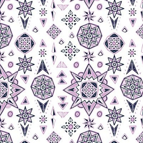 Orchid & Navy Stars Geometry