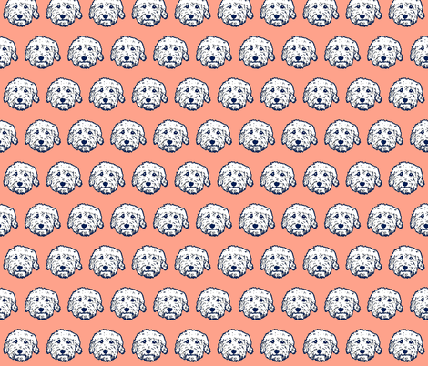 Goldendoodles in pink! Fun Doodle dog faces  fabric by cheeky~hodgepodge on Spoonflower - custom fabric