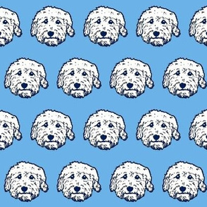 Goldendoodle fabric! Adorable doodles! Golden doodle dogs in white and blue