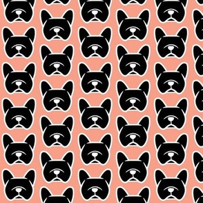 Black French Bulldog on pink back - Frenchie fabric cuteness