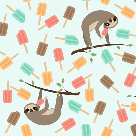 Summer Sloths Mint Background fabric by viperprints on Spoonflower - custom fabric