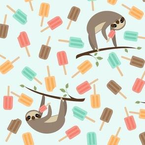Summer Sloths Mint Background