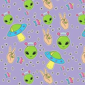 Pastel Goth Aliens on Purple