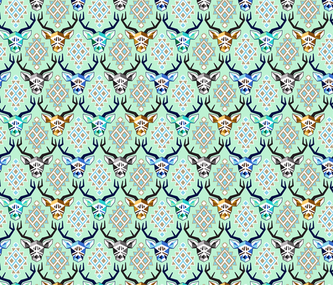 Modern Mint Bucks fabric by made_whimsy on Spoonflower - custom fabric