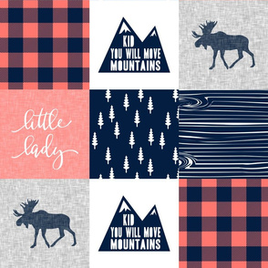 Little Lady - Kid you will move mountains - bright coral and navy